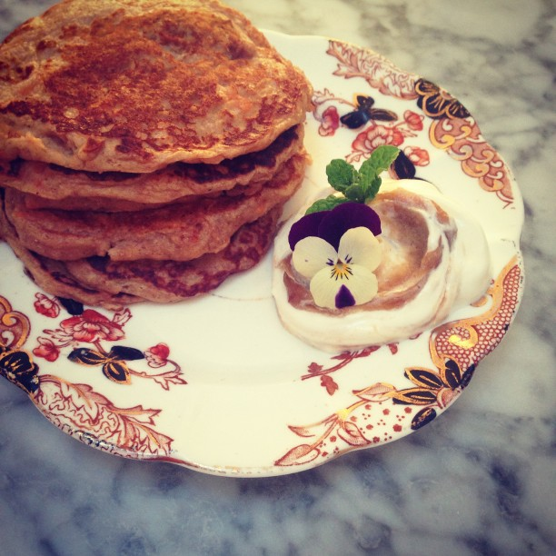 Carrot Cake Pancakes with Spiced Apple Butter Yogurt