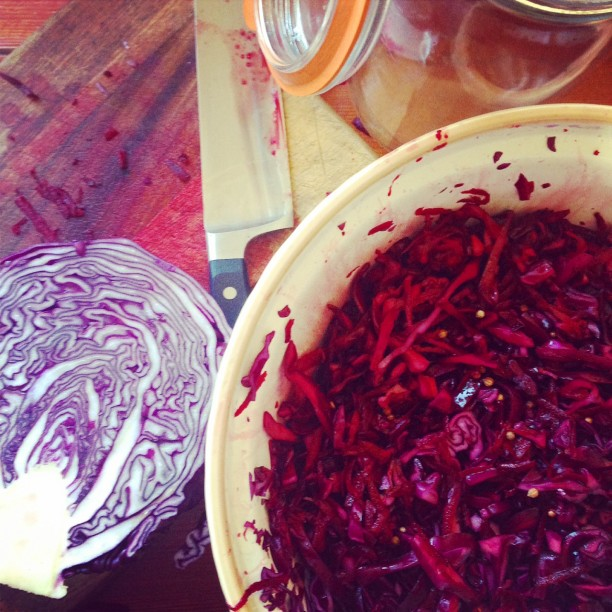 Red cabbage and coriander seed sauerkraut