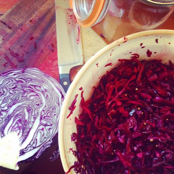 Red cabbage and coriander seed sauerkraut