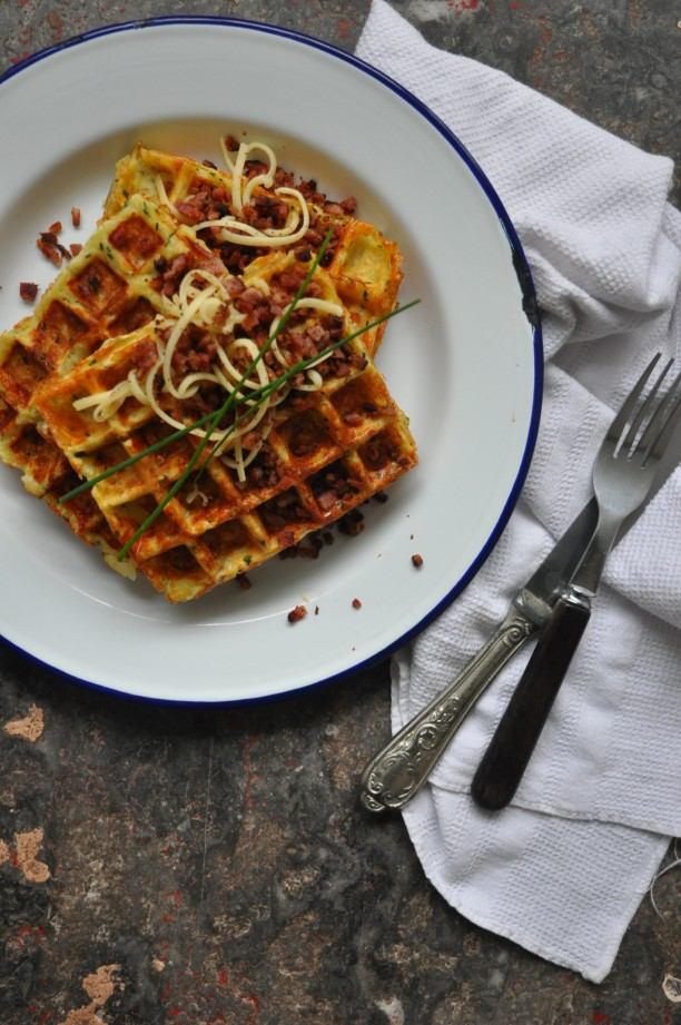 Real Potato Waffles with gruyere and bacon crumbs
